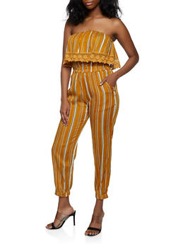 Striped Overlay Tube Jumpsuit | 0045038341321 - 0045038341321