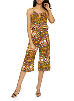 Sleeveless Printed Capri Jumpsuit - 0045038341322