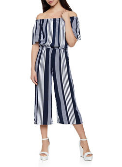 Off the Shoulder Striped Palazzo Jumpsuit - 0045038341325