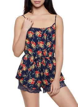 Lace Trim Floral Overlay Romper - 0045038341355