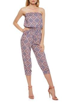 Aztec Print Cropped Jumpsuit - 0045038342303