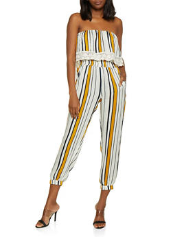 Striped Overlay Tube Jumpsuit - 0045038342321