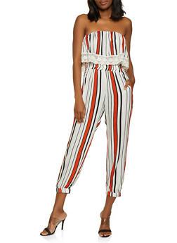 Striped Overlay Tube Jumpsuit - 0045038342321