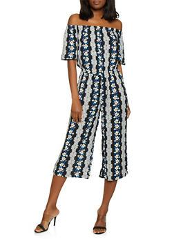 Off the Shoulder Cropped Floral Jumpsuit - 0045038342325