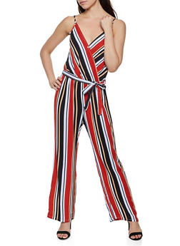 Striped Tie Waist Faux Wrap Jumpsuit - 0045038342326
