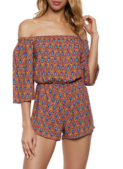 Printed Off the Shoulder Romper | 0045038342351 - 0045038342351
