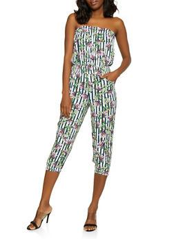 Floral Striped Strapless Jumpsuit - 0045038343230