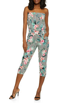 Floral Striped Strapless Jumpsuit - 0045038343230
