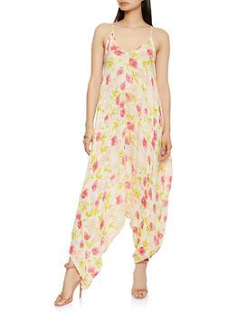 Floral Harem Jumpsuit - 0045038343308