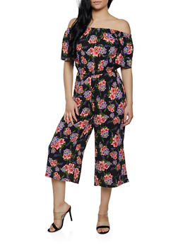 Off the Shoulder Floral Jumpsuit - 0045038343325