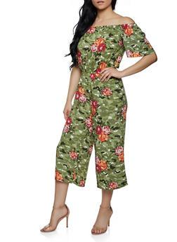 Off the Shoulder Floral Jumpsuit - 0045038343325