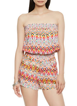Printed Strapless Romper - 0045038343354