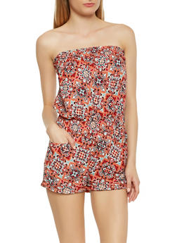Strapless Printed Romper - 0045038343540