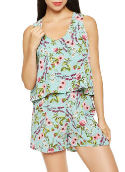 Floral Print Overlay Romper - 0045038343590