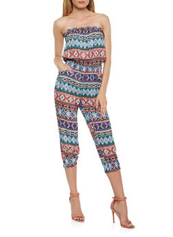 Printed Cropped Jumpsuit - 0045038344303