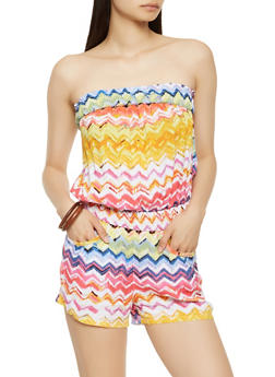 Printed Strapless Romper - 0045038344354