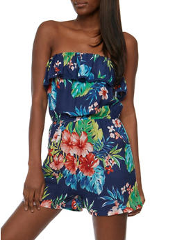 Strapless Tropical Print Romper with Ruffle Overlay - 0045038344355