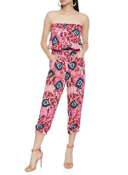 Printed Strapless Jumpsuit - 0045038345303