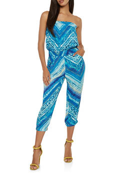 Printed Cropped Jumpsuit - 0045038346303