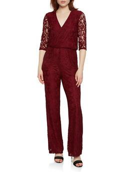 Faux Wrap Lace Jumpsuit - 0045038348740