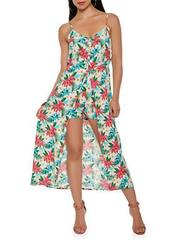 Printed Lace Up Maxi Romper - 0045038349334