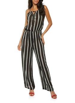 Striped Crinkle Knit Jumpsuit - 0045038349337