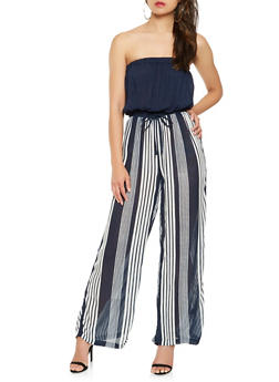 Striped Tie Waist Tube Jumpsuit - 0045038349343