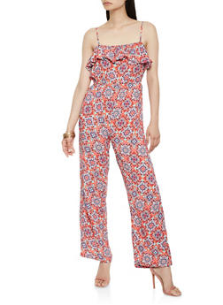 Ruffle Front Printed Jumpsuit - 0045038349345