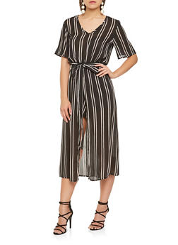 Tie Waist Striped Romper - 0045038349348