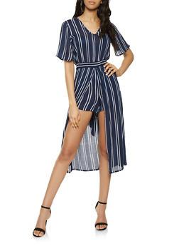 09f882018b0 Tie Waist Striped Romper.  16.97. More colors · Printed Lace Up Maxi Romper  - 0045038349334