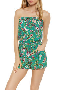 Strapless Printed Romper - 0045038349354