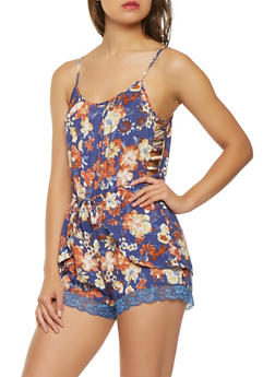 Caged Side Floral Lace Trim Romper - 0045038349357
