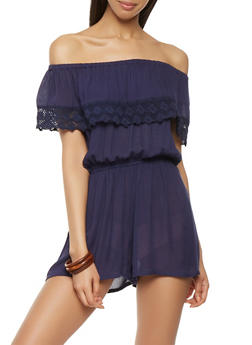 Off the Shoulder Crochet Trim Romper - 0045038349363