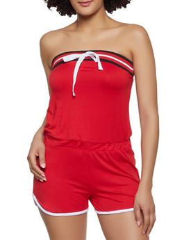 Soft Knit Contrast Trim Romper - 0045038349623