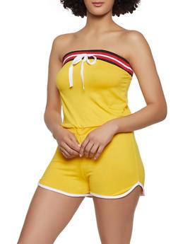 Soft Knit Contrast Trim Romper - 0045038349623