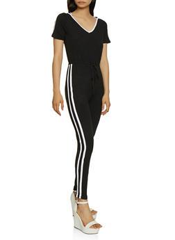 Hooded Varsity Stripe Detail Jumpsuit - 0045038349643