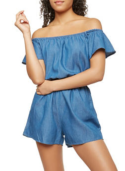 Chambray Off the Shoulder Romper - 0045051060917