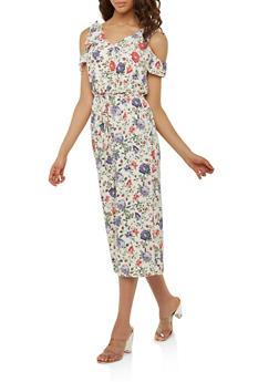 Floral Faux Wrap Cold Shoulder Jumpsuit - 0045051061055