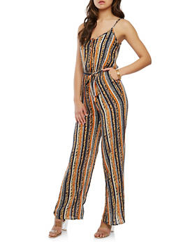 Border Print Button Front Belted Jumpsuit - 0045051061082