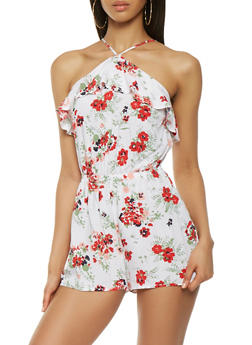 Ruffled Floral Romper - 0045051061098