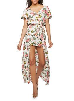 Floral Faux Wrap Maxi Romper - 0045051061105