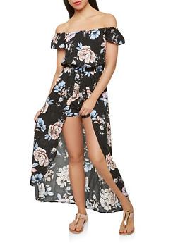Off the Shoulder Floral Maxi Romper - 0045051061117