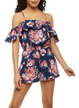 Floral Flutter Sleeve Romper - 0045051061122