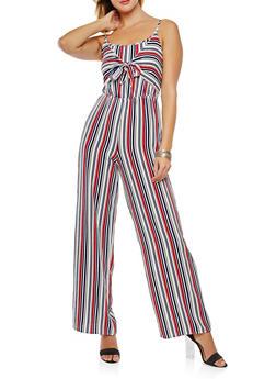Striped Tie Front Jumpsuit - 0045051061151