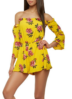 Crepe Knit Floral Off the Shoulder Romper - 0045051061163