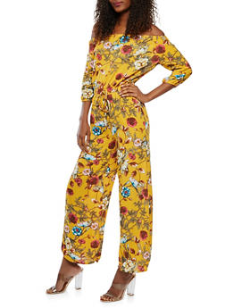 Floral Off the Shoulder Jumpsuit - 0045051061167