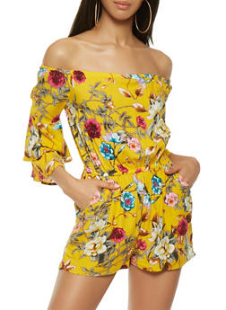 Floral Off the Shoulder Romper - 0045051061207