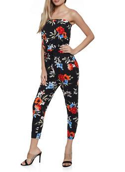 Floral Drawstring Waist Tube Jumpsuit - 0045051061292