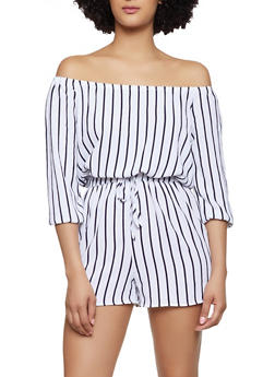 Striped Crepe Knit Off the Shoulder Romper - 0045051061295