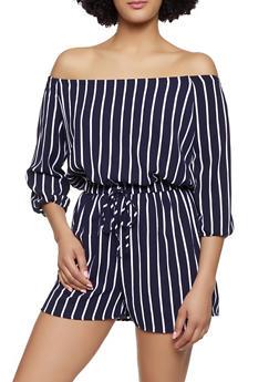 Striped Crepe Knit Off the Shoulder Romper - 0045051061295